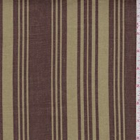 Sage Green/Mocha Stripe Printed Linen Decor Fabric