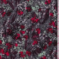Granite/Mint/Red Marble Floral Crepe