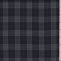 Navy/Silver Plaid Flannel Suiting