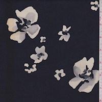 Dark Navy/Cream Abstract Floral Georgette