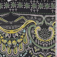 Black/Green/Yellow Moroccan Scroll ITY Knit
