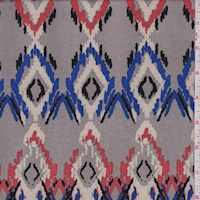 Grey Multi Flamestitch Diamond Double Brushed Jersey Knit