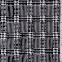Black/White Houndstooth Plaid Double Brushed Jersey Knit