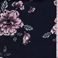 Navy/Orchid Pink Fan Floral Double Brushed Jersey Knit