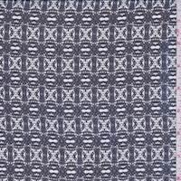 *5 1/2 YD PC--Deep Blue/White Check Silk Chiffon
