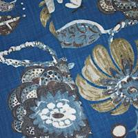 Blue/Multi Braemore Floral Printed Basketweave Decor Fabric