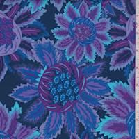 *3 YD PC--Midnight/Plum Stylized Bloom Print Cotton