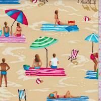 """*7/8 YD PC--Sandy Beige """"Fun Sand"""" Print Cotton"""