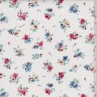 "*2 YD PC--White ""Tea Rose"" Print Cotton"