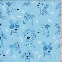 """*4 5/8 YD PC--Sky Blue """"Canine Expressions"""" Print Cotton"""