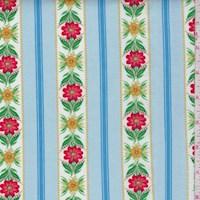 "*2 YD PC--Robin Blue ""Chateau Chic"" Floral Stripe Print Cotton"