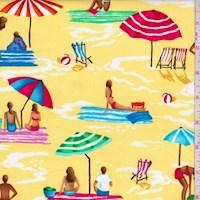 """*1/2 YD PC--Yellow """"Sun and Fun"""" Print Cotton"""