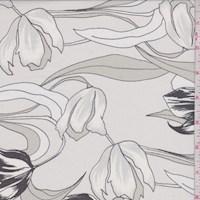 *3/4 YD PC--White/Sea Mist Modern Tulip Silk Chiffon