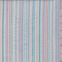 *1 1/2 YD PC--White/Pink/Teal Cotton Seersucker Stripe