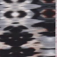 Grey/Black/Beige Flamestitch Print Jersey Knit