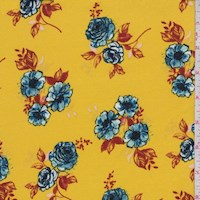 Golden Yellow/Blue Floral Cluster Double Brushed Jersey Knit