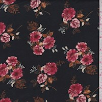 Black/Berry Floral Cluster Double Brushed Jersey Knit