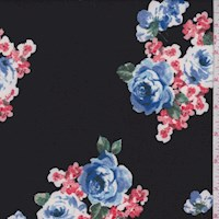 Black/Periwinkle/Coral Floral Double Brushed Jersey Knit