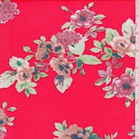 Bright Red Floral Double Brushed Jersey Knit