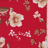 Red/Beige Dogwood Floral Double Brushed Jersey Knit