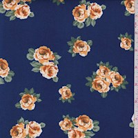 Deep Blue Tossed Floral Double Brushed Jersey Knit