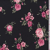 Black Tossed Floral Double Brushed Jersey Knit