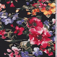 Black Multi Floral Double Brushed Jersey Knit