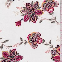 White/Berry Stylized Floral Double Brushed Jersey Knit