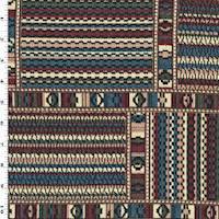 *2 YD PC--Ocean Blue/Red/Multi Tribal Tapestry Jacketing
