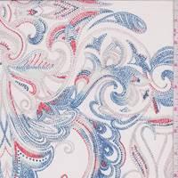 *2 3/8 YD PC--Cream Multi Dotted Scroll Silk Chiffon