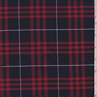 *1 1/2 YD PC--Navy/Cherry Red Plaid Suiting