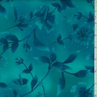 *2 YD PC--Teal/Navy Botanical Print Cotton