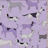 "*3 1/8 YD PC--Lavender ""Dog Walk"" Print Cotton"