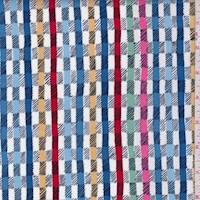 "*1 3/8 YD PC--Denim Blue Multi ""Twill"" Print Cotton"