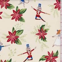 """*1 YD PC--Ecru """"Nutcracker Floral"""" Print Cotton"""