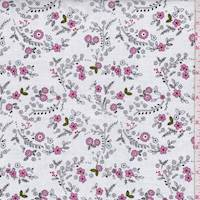 "*4 1/2 YD PC--White ""Forest Flowers"" Print Cotton"