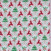*3 1/4 YD PC--White Christmas Diamond Print Cotton