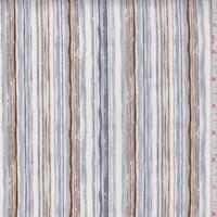 """*2 1/4 YD PC--Grey """"Aquarelle Stripe"""" Print Cotton"""