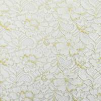 *3 1/4 YD PC--White/Metallic Gold Floral Lace