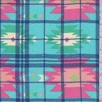 Turquoise Multi Southwest Plaid Rayon Challis