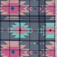 Dark Grey Multi Southwest Plaid Rayon Challis