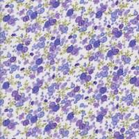White/Lilac Mini Rose Rayon Challis
