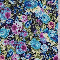 Navy/Turquoise Pixel Dot Floral Rayon Challis