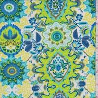 White/Lime/Turquoise Medallion Rayon Challis