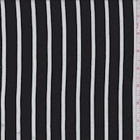 Black/White Chalk Stripe Rayon Challis