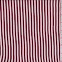 White/Maroon Stripe Rayon Challis