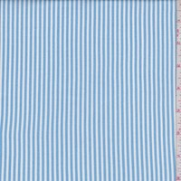 White/Blue Stripe Rayon Challis