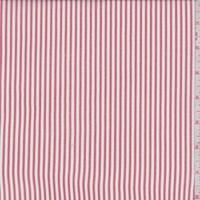 White/Pale Red Stripe Rayon Challis