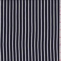 Navy/White Stripe Rayon Challis