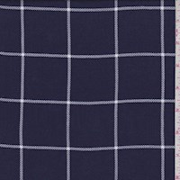 Ink Blue Windowpane Check Rayon Challis